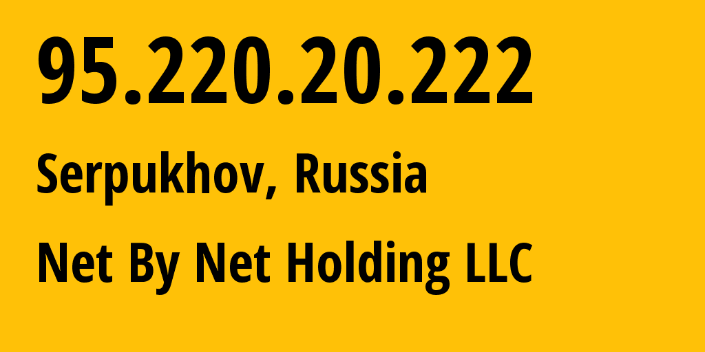 IP address 95.220.20.222 (Moscow, Moscow, Russia) get location, coordinates on map, ISP provider AS12714 Net By Net Holding LLC // who is provider of ip address 95.220.20.222, whose IP address