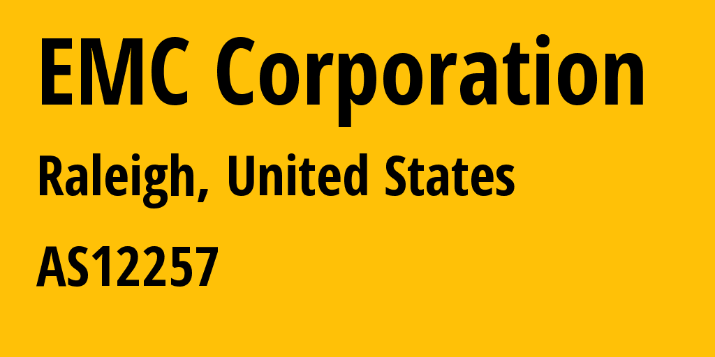 Information about provider EMC Corporation AS12257 EMC Corporation: all IP addresses, address range, IP providers and ISP providers