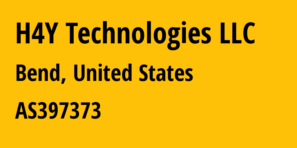Information about provider H4Y Technologies LLC AS397373 H4Y Technologies LLC: all IP addresses, address range, IP providers and ISP providers