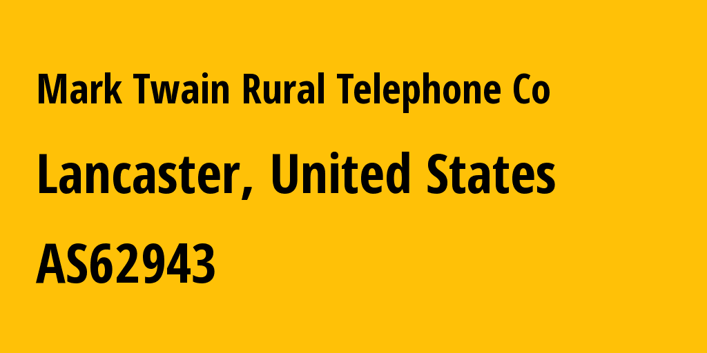 Information about provider Mark Twain Rural Telephone Co AS62943 Bluebird Network: all IP addresses, address range, IP providers and ISP providers