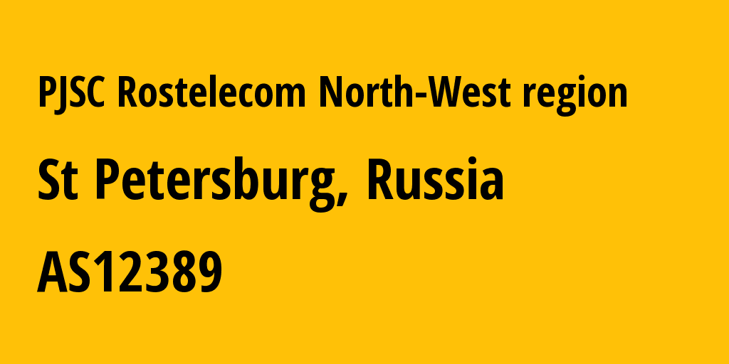 Information about provider PJSC Rostelecom North-West Region AS12389 PJSC Rostelecom: all IP addresses, address range, IP providers and ISP providers