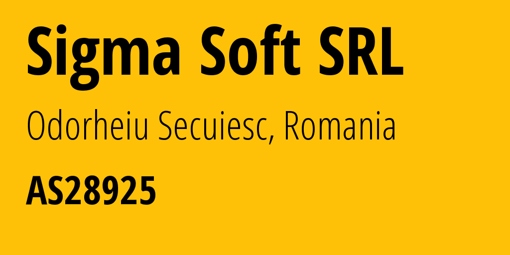 Information about provider Sigma Soft SRL AS28925 SIGMA SOFT SRL: all IP addresses, address range, IP providers and ISP providers